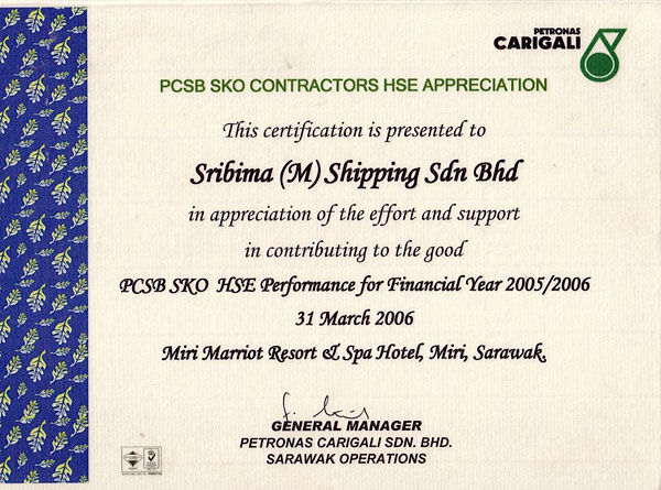 Sribima group of companies awards and recognition petronas 2006 hse appreciation yelopaper Image collections